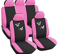 9 PCS Set Car Seat Covers Fit Borboleta Universal Bordados Design For-de-rosa acessórios do carro
