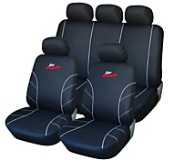 9 PCS Set Car Seat Covers Black and White Front Rear Racing Style Proctor Set-L Universal Fit