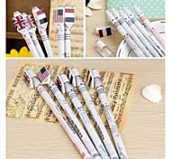 Europa e nos Estados Unidos Bandeira Pen Cap Black Ink Gel Pen (cor aleatória)