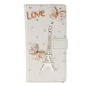 DIY Butterfly and Eiffel Tower Pattern Litchi Texture Leather Case with Stand for Sony Xperia M2 S50h