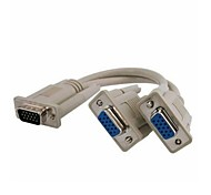 VGA Male to 2 Dual VGA SVGA Female Video Y Splitter Monitor Cable