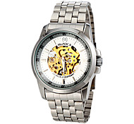 Men's Auto-Mechanical Generous Skeleton Silver Steel Band Wrist Watch (Assorted Colors)