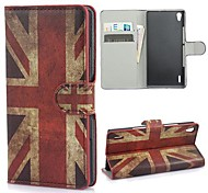 Vintage Union Jack Flag Leather Wallet Case with Stand and Card Slot for Huawei Ascend P7