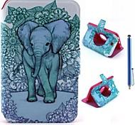 elefante con el patrón de flor de cuero de la PU caso de cuerpo completo + lápiz óptico para samsung galaxy tab 3 7.0 t210/t211/p3200