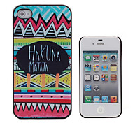 HAKUNA MATATA Coloured Drawing Pattern Black Frame PC Hard Case for iPhone 4/4S