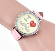 Women's Simulated Diamond Watch Quartz Band Mustaches Black White Pink