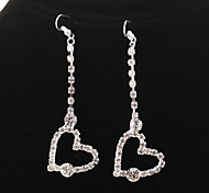 Vintage Diamanted Heart Shape Silver Drop Earrings(1 Pair)