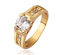 Women`s Trendy Simple Gold Plated Zircon  Ring (Gold / Gold-Pink)- Size 8