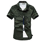 Men's pure cotton solid short sleeve shirt