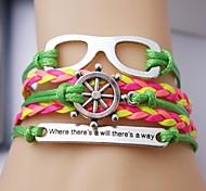 Leather Bracelet Multilayer Alloy Glasses and Anchor Multilayer Handmade Bracelet