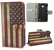 Retro EE.UU. bandera americana funda cartera de cuero con el soporte y ranura para tarjeta para Nokia Lumia 630