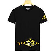 Inspiré par One Piece Monkey D. Luffy Anime Costumes Cosplay Cosplay T-shirt Imprimé Noir / Jaune Manche Courtes Manches Ajustées