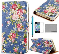 COCO FUN ® Rosa Azul Padrão PU Leather Case Full Body com Filme, Stand e Stylus para iPhone 5/5S