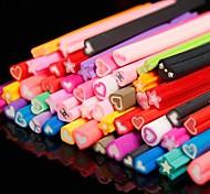 50PCS Sweet Heart Pattern 3D Cane Stick Rod Sticker Random Color Nail Art Decoration