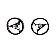 Fashion Diamanted Letter Shape Black Stud Earrings(1 Pair)