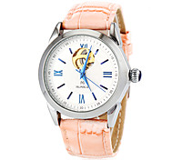 Women's Auto-Mechanical Simple Dial Leather Band Wrist Watch (Assorted Colors)