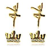 Korean Sweet  Drill Crown Dancer Gold Plating Earrings