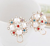 Lureme®Fashion Colorful Crystals Pearl Stud Earring