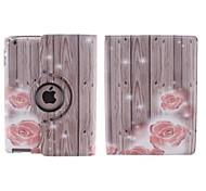 Holzmaserung und kleine rote Blume pattern360 Grad PU Ledertasche mit Ständer für iPad 2/3/4