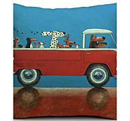 мультфильм водитель собака хлопок / лен декоративная наволочка