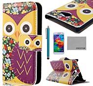 coco Spaß ® lila Blume Eulenmuster pu Ledertasche mit Displayschutzfolie, Stylus und stehen für Samsung Galaxy i9600 s5