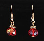 Mode mehrfarbige runde Kristall Ohrringe (1 Paar)