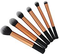 6pcs ouro kit profissional de cabelos taklon pincel de maquiagem super macio