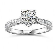 Classic Women's 1CT White NSCD Simulated  Diamond Rings With Card Certificates(H-J) (1 Pc)