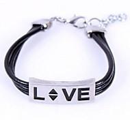Men's LOVE Leather Beaded Bracelet