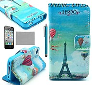 COCO FUN® K19 Balloon Eiffel Tower Pattern Wallet PU Leather Cases With Stand For iPhone 4S Included Film And Stylus