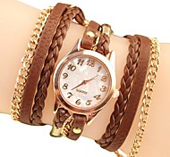 Women's Fashion Style Rose Gold Chain Leather Band Quartz Wrist Watch (Assorted Colors)