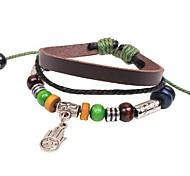 Unisex's Simple Palm Beads Leather Braided Bracelets