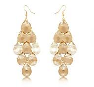 (1 Pair)European (Textured Metal) Golden Alloy Drop Earrings