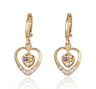 novo ouro das mulheres banhado moda venda quente forma de coração hollw multicolor zircão brincos er0029