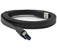 1.5m 5ft USB 3.0 Typ A Stecker auf A Buchse Erweiterung Flachkabel schwarz versandkostenfrei
