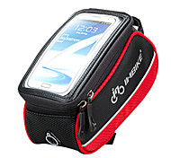 INBIKE 4.8 Inch Polyester and EVA Black and Red Bicycle Front Bag with Transparent PVC Touchable Mobile Phone Screen