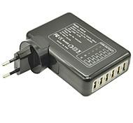 6 Hubs USB carregador de parede interior destacável para iPhone / iPad e Samsung (5v 4a máximo, plugue da UE)