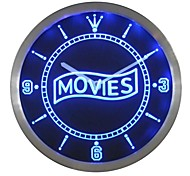 Movie Night Decor Neon Sign LED Wall Clock
