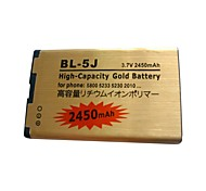 3.7V 2450mAh BL-5J High-Capacity Cell Phone Battery Golden for Nokia 5800XM 5230 and 5233