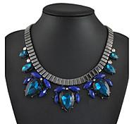 moda azul jóia declaração colar
