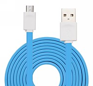 Qisan CD40 Blue Mirco Noodles Flat USB Data Transmit and Charging Cable for Lenovo / ML and other 2M 6.6FT