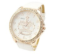 Women's Fashion Style Rhinestone Cown Big Dial Leather Band Quartz Wrist Watch(Assorted Colors)