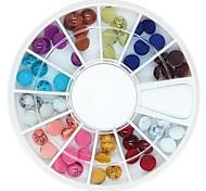 60pcs 5 millimetri perle di resina tacchino tondo colorato ruota chiodo decorazione di arte