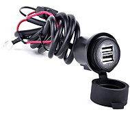 Motorcycle 12V-24V Waterproof USB Phone Charger Adapter Double USB2.1A