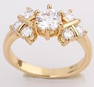 New Fashion-18K überzog Blumen-Form-Design-Zirkon Ring für Frauen J28624