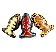 Fish Shape Fishbone Pattern Genuine Leather Chewing Toy  for Pets Dogs(Assorted Colors)