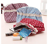 Spotted Design Cotton With Lace Cosmetics Storage(Random Colorx1pcs)