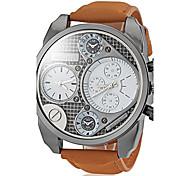 Men's Military Style Dual Time Zones Khaki Leather Band Quartz Wrist Watch