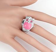 Women's Cute Owl Case Metal Quartz Analog  Ring Watch(1Pc)