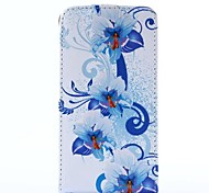 Blue Flower Pattern Pu Leather Full Body Case for Samsung Galaxy S2 I9100